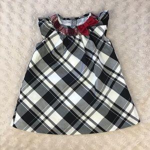 Gymboree Plaid Dress Black Red Bow 6-12 Months